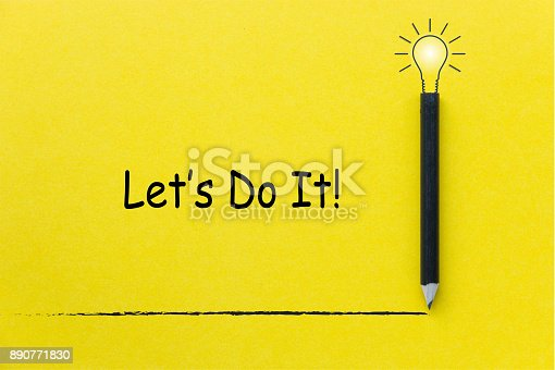 istock Let do it word with black pencil on yellow background with light bulb illustration line for Inspiration and Creative concept 890771830