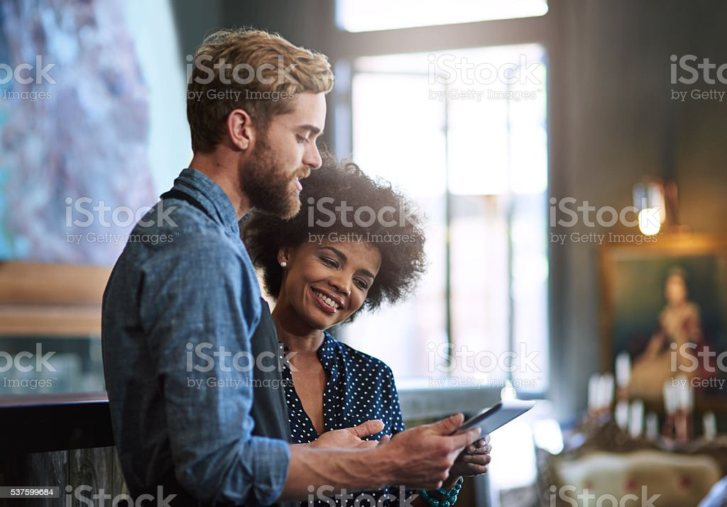 Let me show you our digital menu stock photo