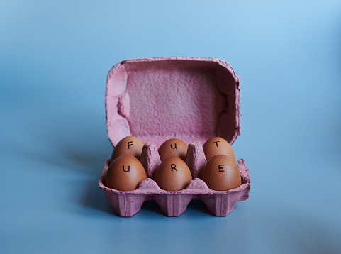 Studio shot of a box against a blue background containing half a dozen eggs with the word future written on it