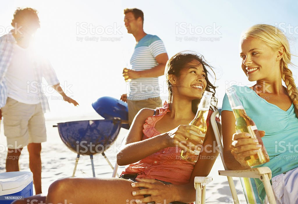 Let the guys cook for a change... stock photo