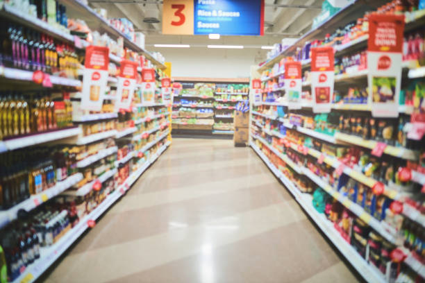 Let the shopping begin Shot of an empty grocery store convenience stock pictures, royalty-free photos & images
