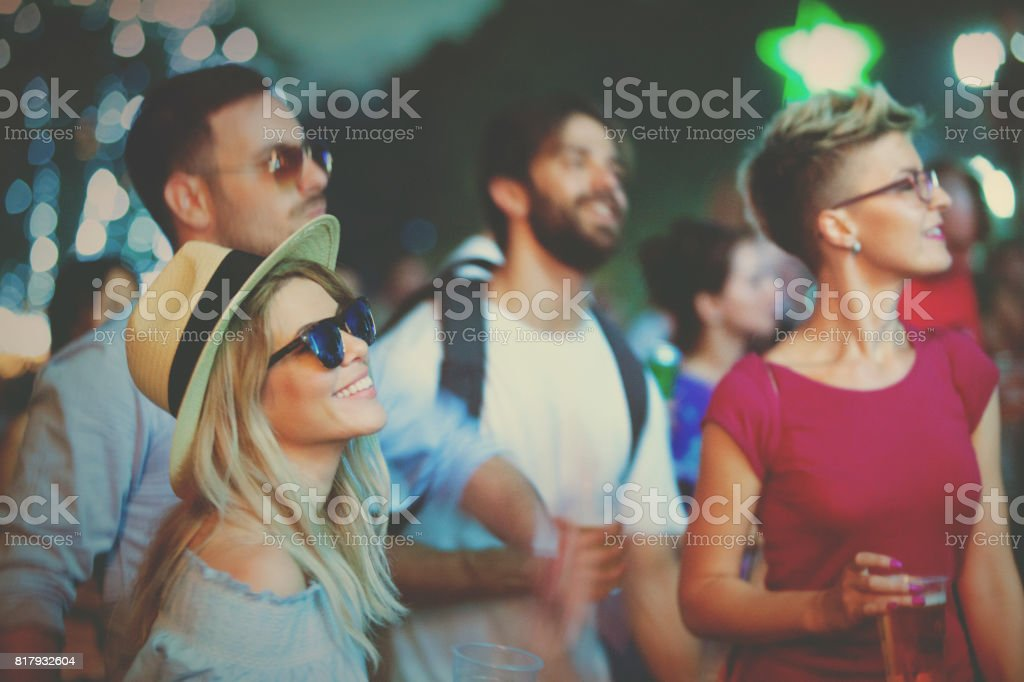 Let the summer begin with music festival stock photo