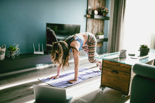 Let's Burn That Belly Fat With A Home Workout Session !!! stock photo