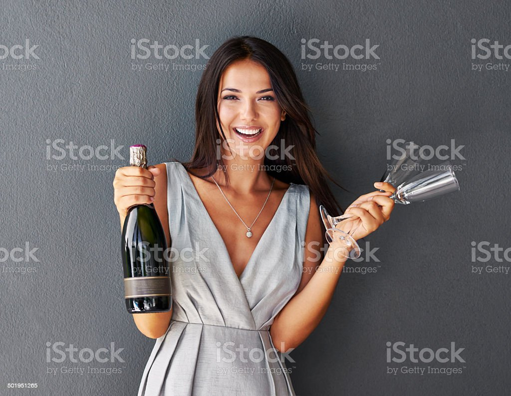 Let's celebrate with some bubbly! stock photo