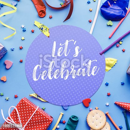 istock 2019 Let's celebrate,party concepts ideas with colorful element,gift box present,confetti,balloon 1055171468