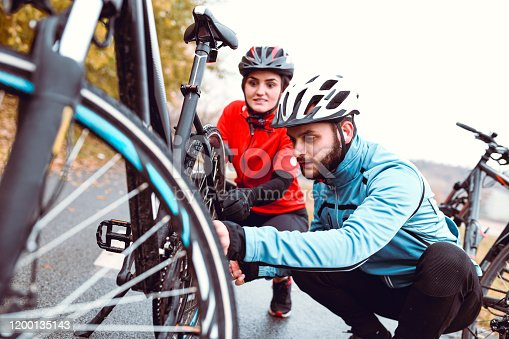 istock Let's Fix Your Bicycle, My Dear 1200135143