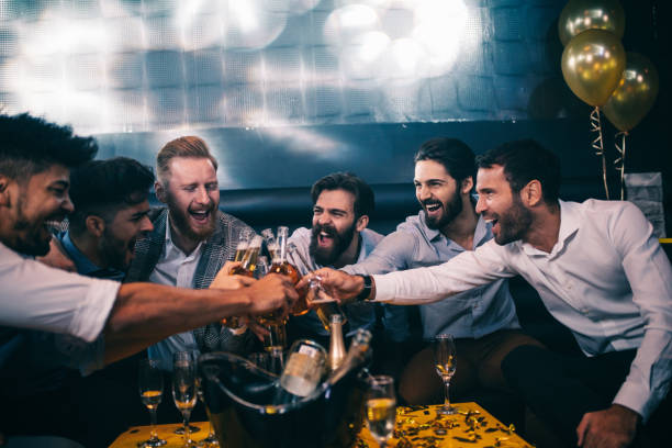 let's get this bachelor's started ! - stag night stock pictures, royalty-free photos & images