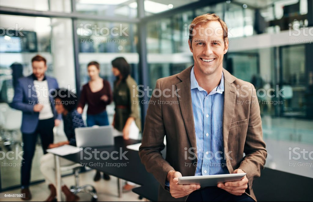 Let's get this meeting started stock photo