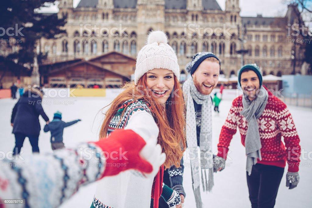 Vamos fazer diversão de inverno! foto de stock royalty-free