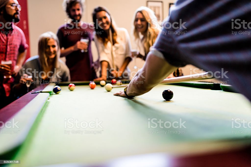 Let's go playing billiard! stock photo