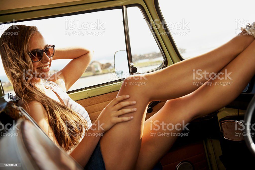 Let's go wherever the road takes us! stock photo