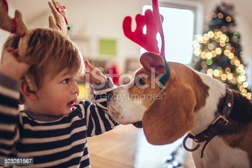 Cute little dog and cute little boy, dressed up as reindeer, the red-nose reindeer..