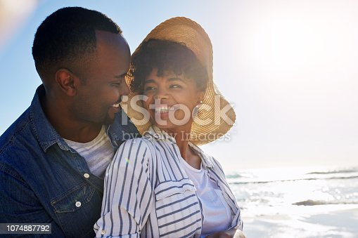 Shot of a happy young couple enjoying a day at the beach together