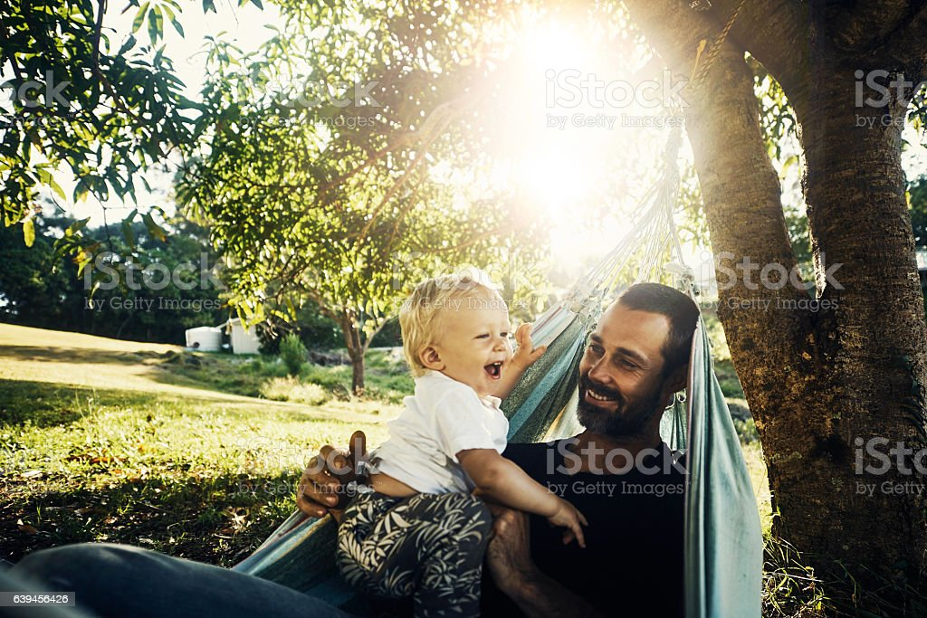 Let's play, daddy! stock photo