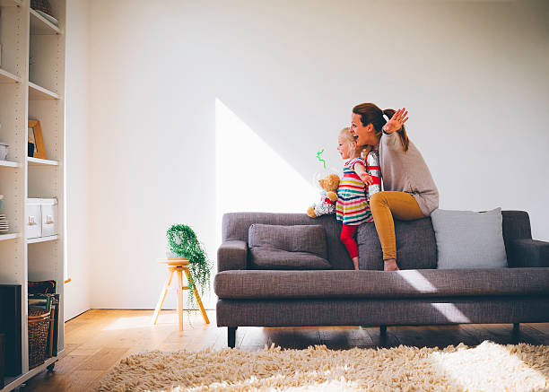 lets pretend! - family room stock photos and pictures