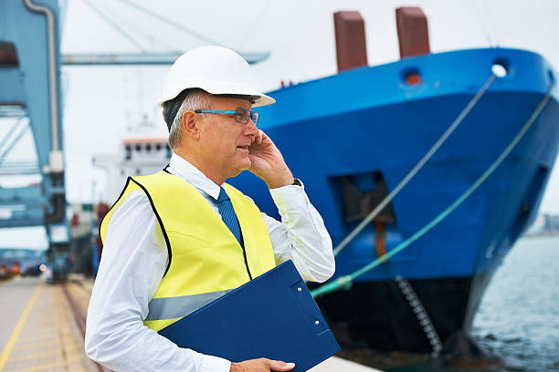 Let's secure that cargo for the departure... A dock worker standing at the harbor amidst shipping industry activity while taking a call on his mobile customs official stock pictures, royalty-free photos & images