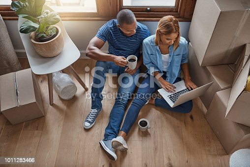 Shot of a couple using their laptop on moving day