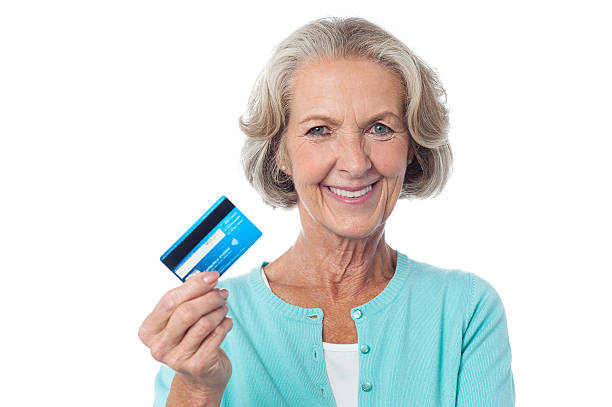Let's shop with my credit card. stock photo