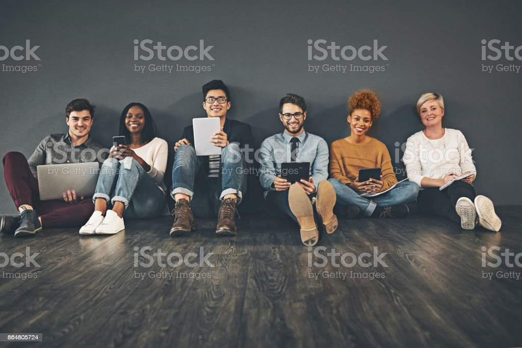 Lets sit down and get social stock photo