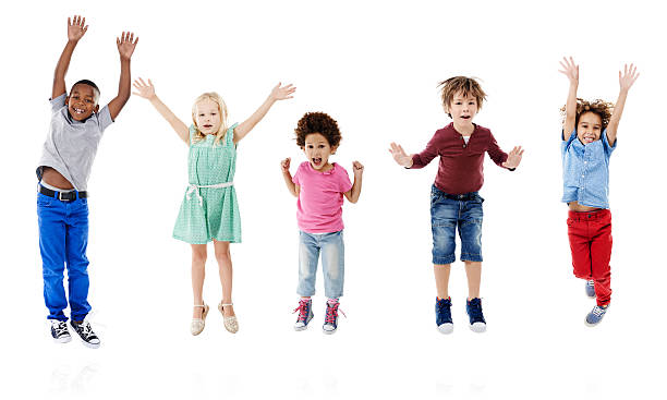 let's take happiness to new heights - african youth jumping for joy stock photos and pictures