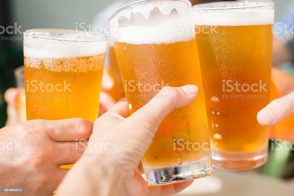 Let's toast with beer! stock photo