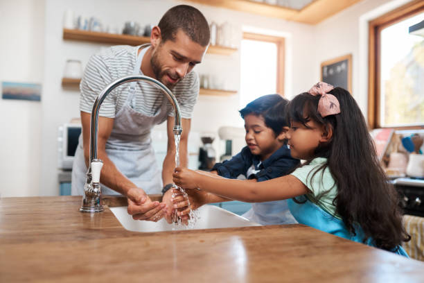 Let's wash those germs away stock photo
