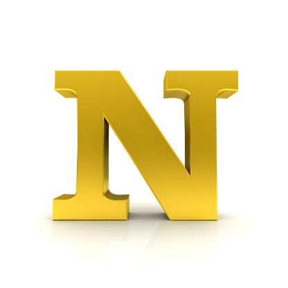 N letter 3d sign black red gold green blue text capital letters alphabet symbols characters typescript