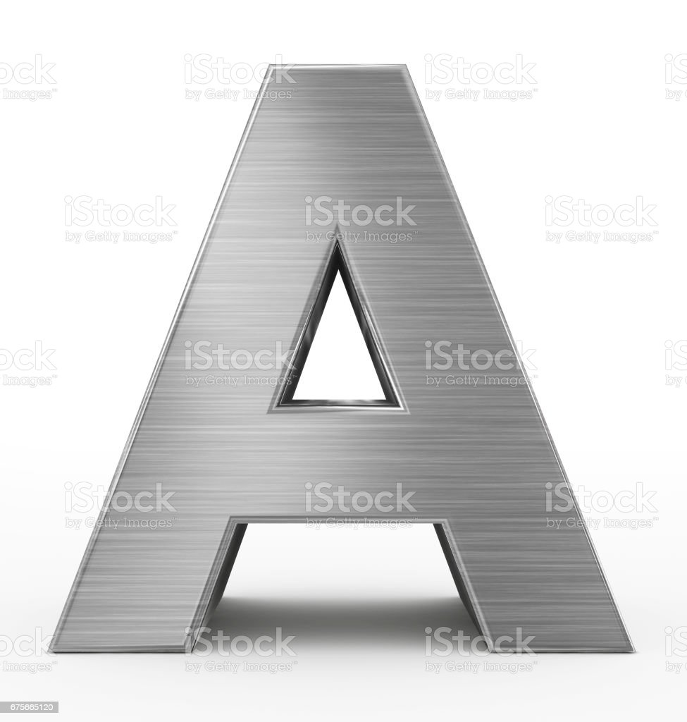 letter A 3d metal isolated on white stock photo