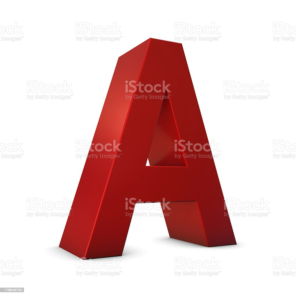 Letter A 3d royalty-free stock photo