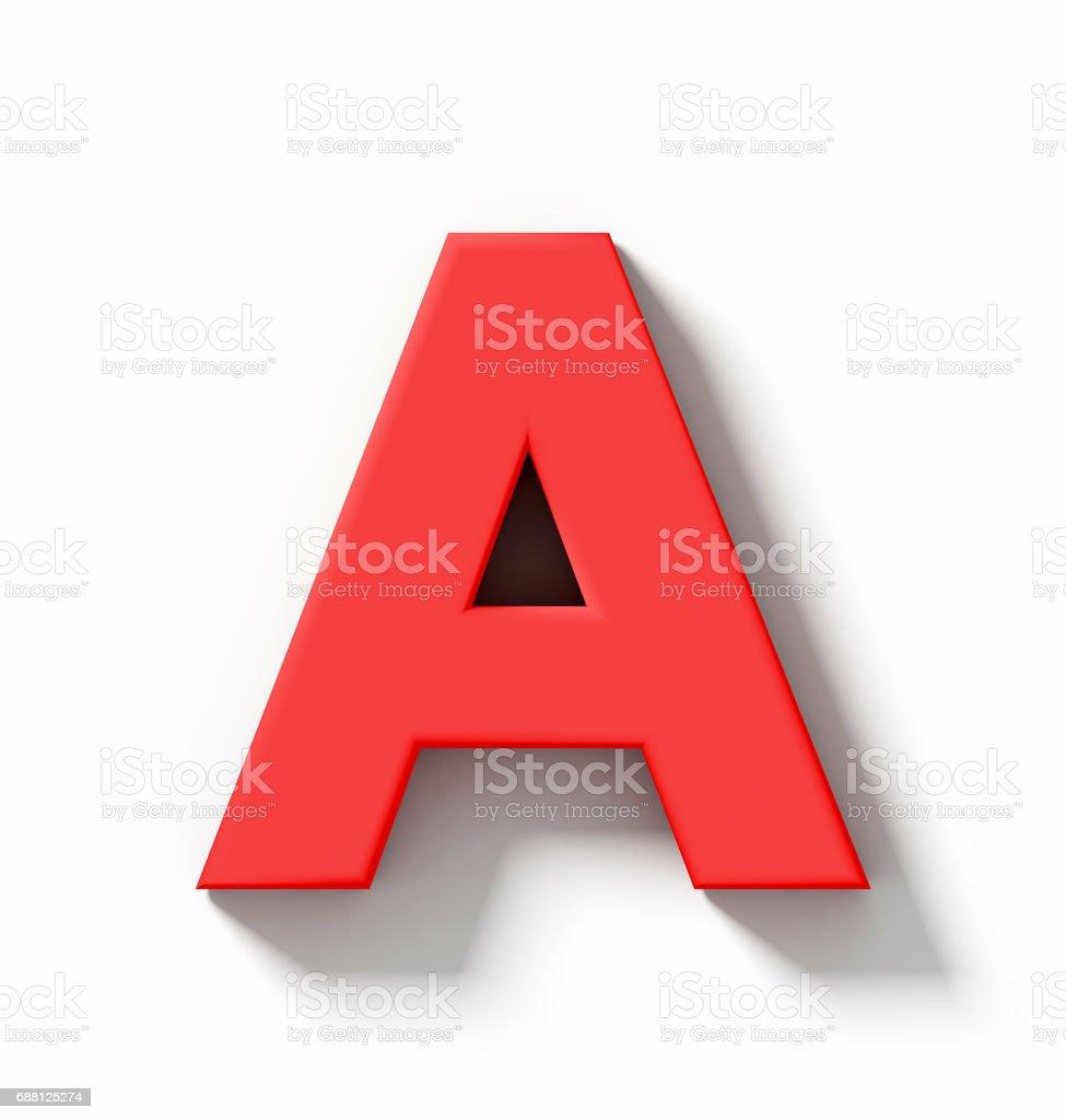 mektup bir 3D kırmızı beyaz gölge - orthogonal projeksiyon ile izole stok fotoğrafı