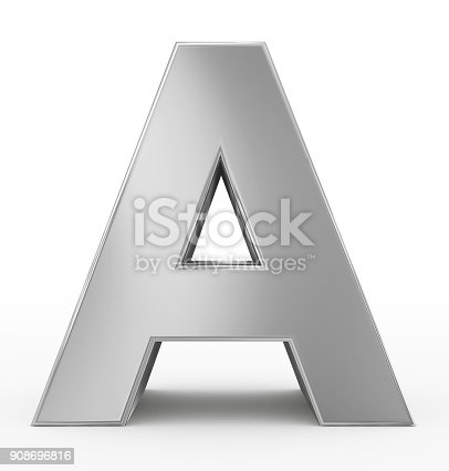letter A 3d silver isolated on white - 3d rendering