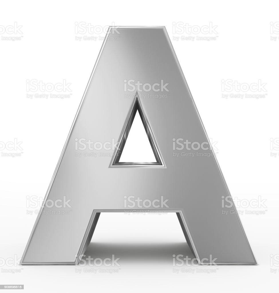 Bir 3d gümüş beyaz izole mektup stok fotoğrafı