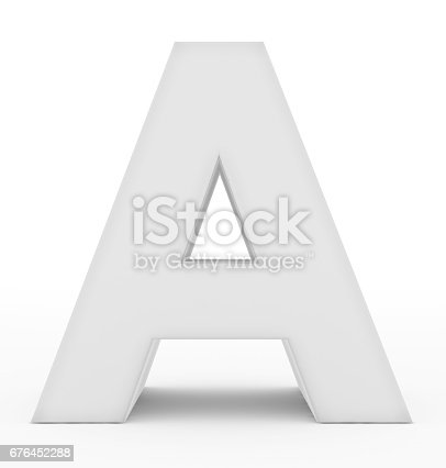 istock letter A 3d white isolated on white 676452288