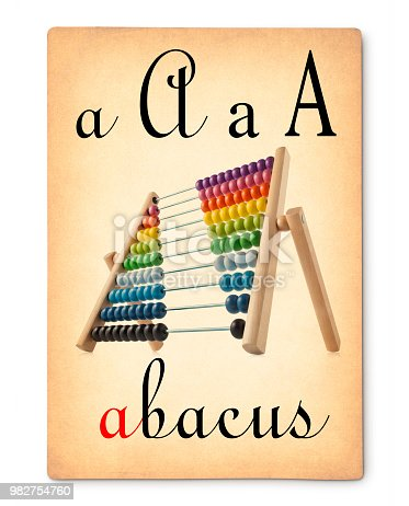 istock Letter A - Abacus. Vintage alphabet flash card. 982754760