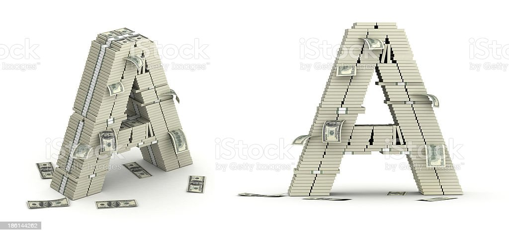 Letter A, alphabet from dollars paks royalty-free stock photo