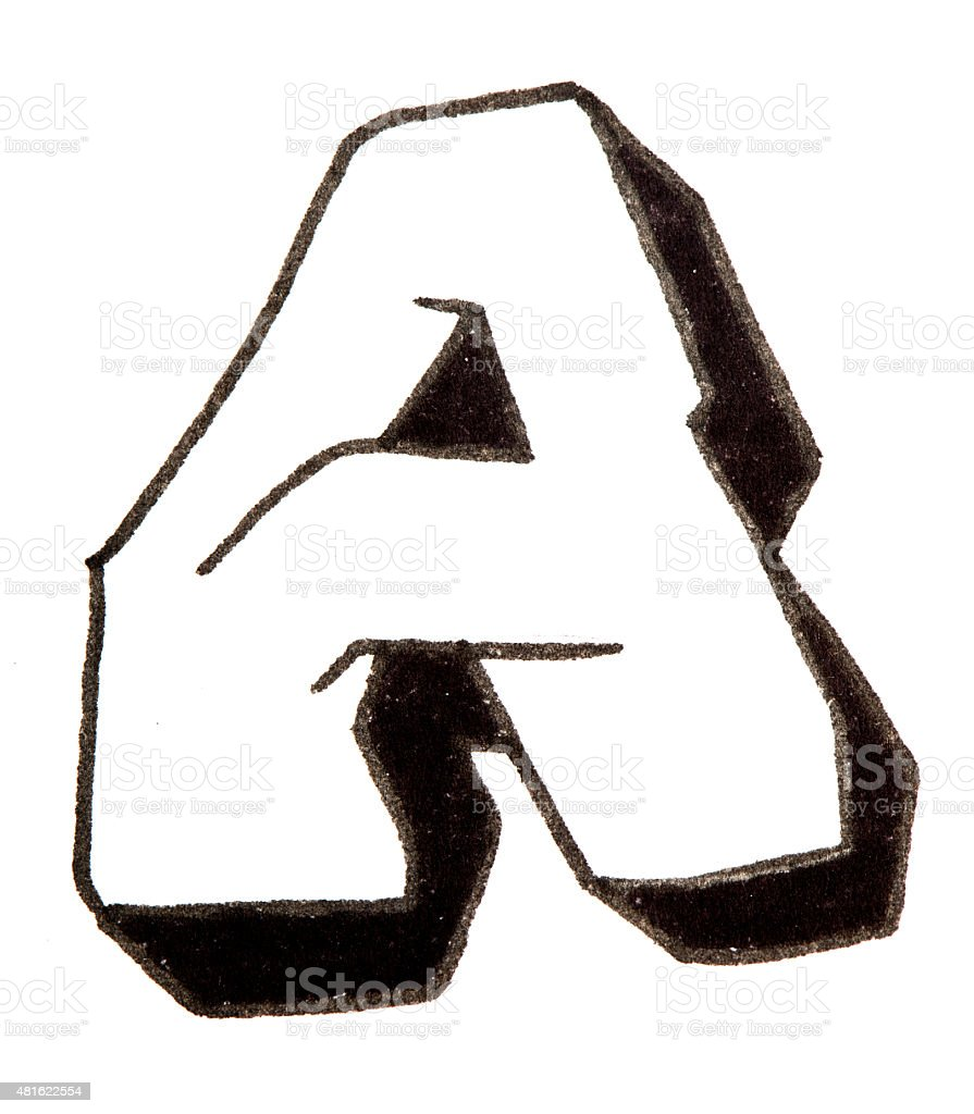 Letter a alphabet in graffiti style royalty free stock photo