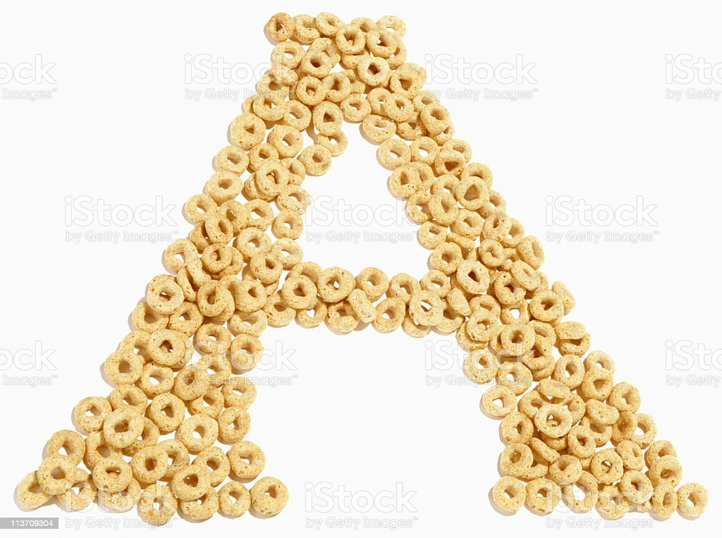 letter A, alphabet of food cut out on white stock photo
