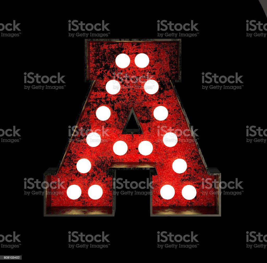 Letter A. Broadway Style Light Bulb Font stock photo