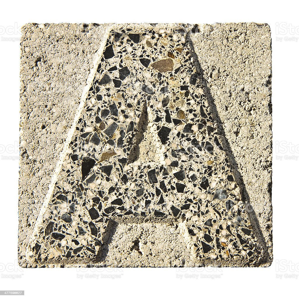 Letter A carved in a concrete block royalty-free stock photo