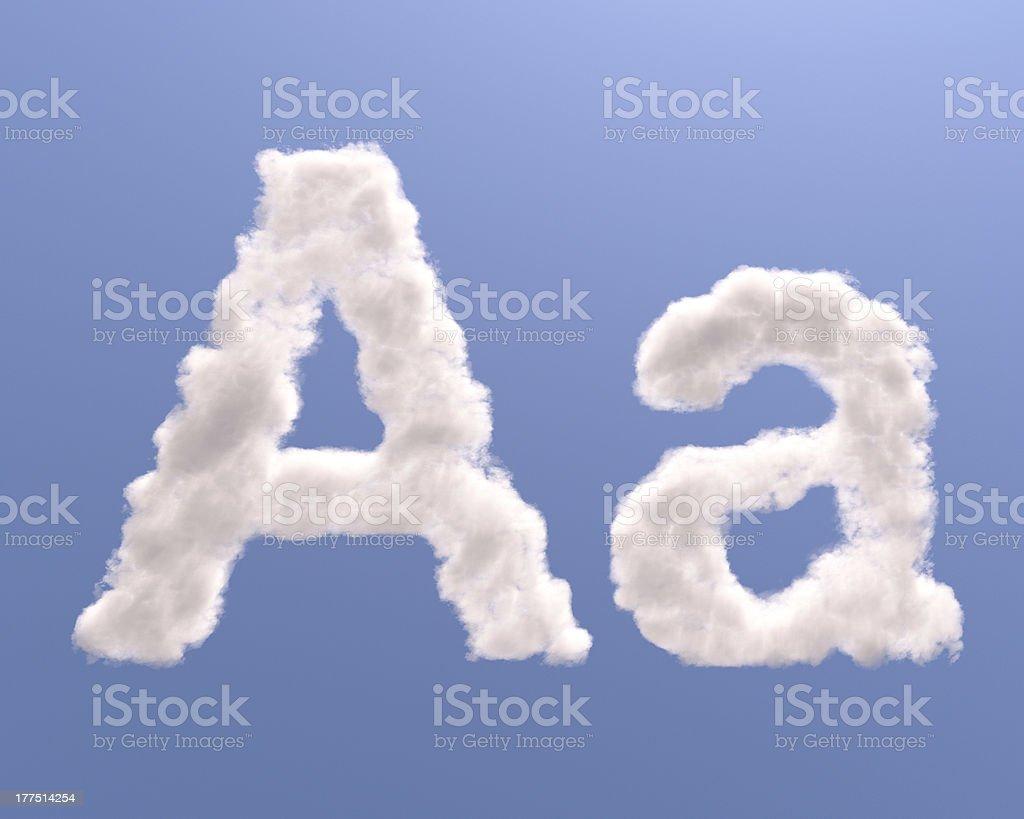 Letter A cloud shape stock photo