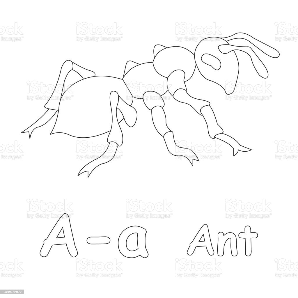 Letter A For Ant Coloring Page Stock Photo & More Pictures of ...
