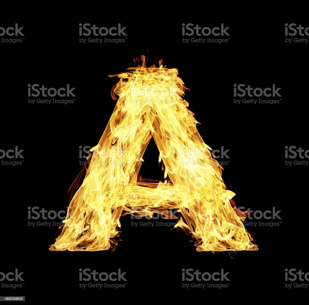 letter A made from fire stock photo