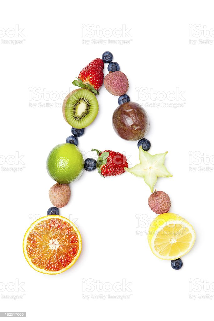 Letter A made of different fruit stock photo