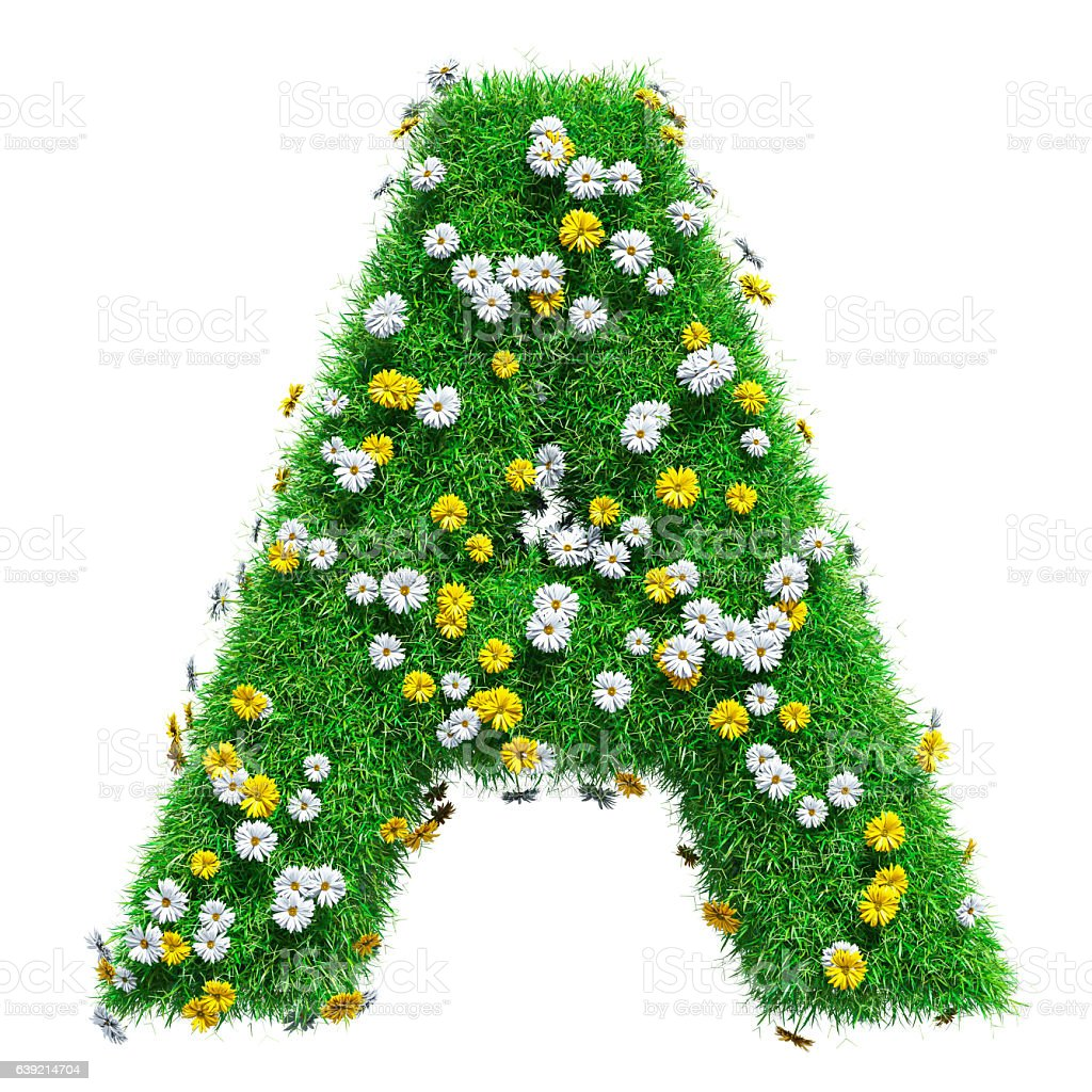 letter a of green grass and flowers stock photo