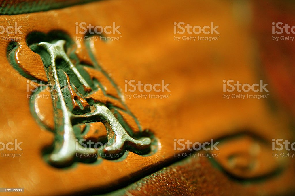 Letter A on leather royalty-free stock photo