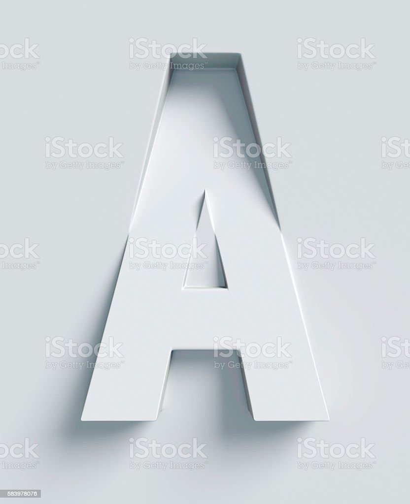 Letter A slanted 3d font engraved and extruded from surface - foto de acervo