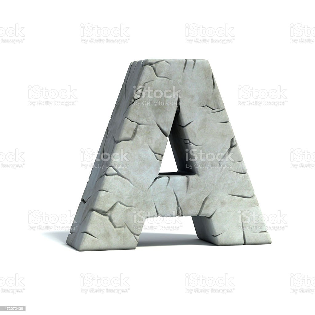 letter A stone 3d font stock photo