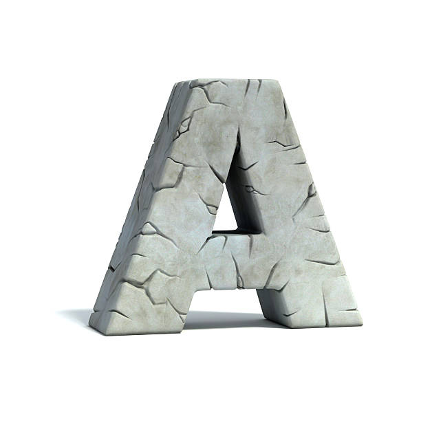 letter a stone 3d font - stone font stock photos and pictures
