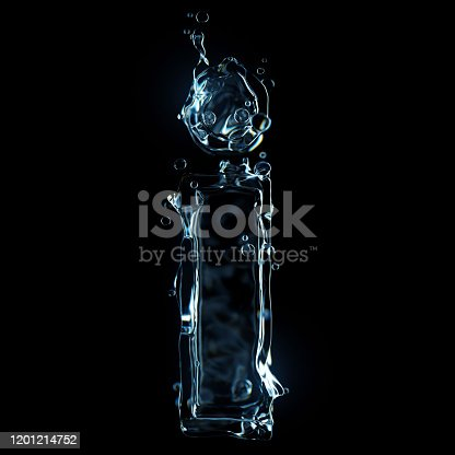 istock Letter a water splash isolated on black background 1201214752