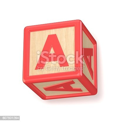 istock Letter A wooden alphabet blocks font rotated. 3D 607501264